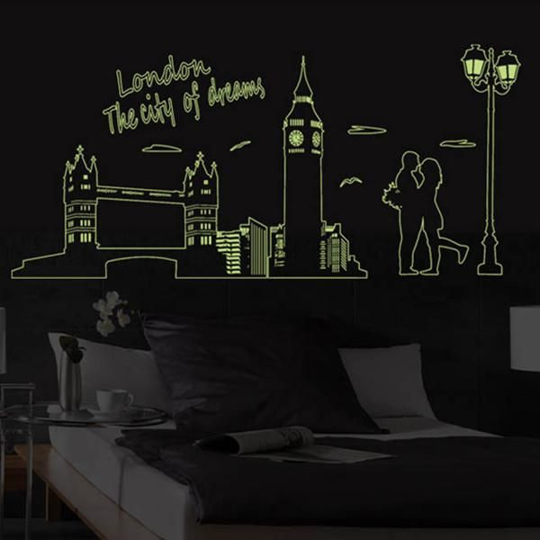 luminous wall stickers london big ben lover glow in darkness home