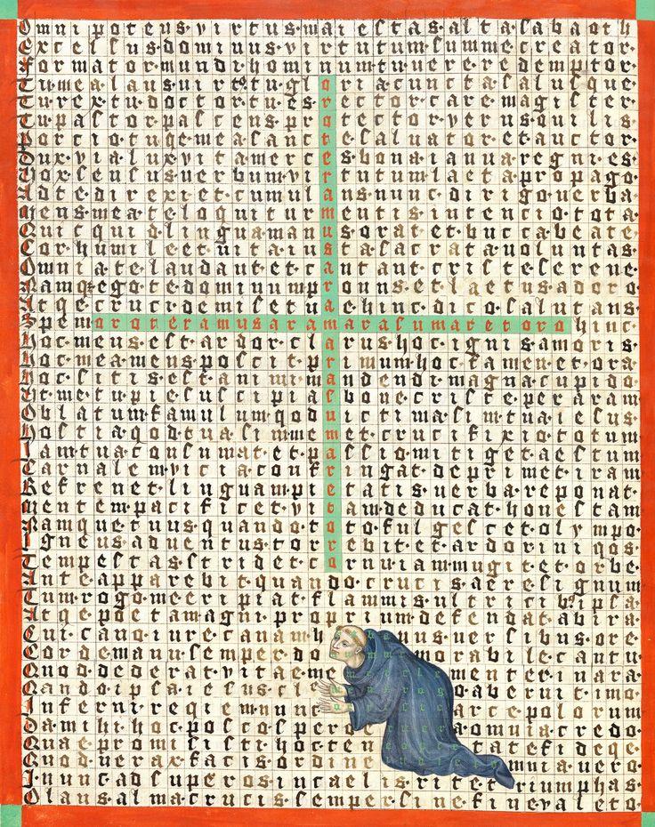 """lost among the words""   Rabanus Maurus, De laudibus sanctae crucis (part of the 'Mettener Armenbibel'), Metten Abbey 1414-1415  München, BSB, Clm 8201, fol. 68v"