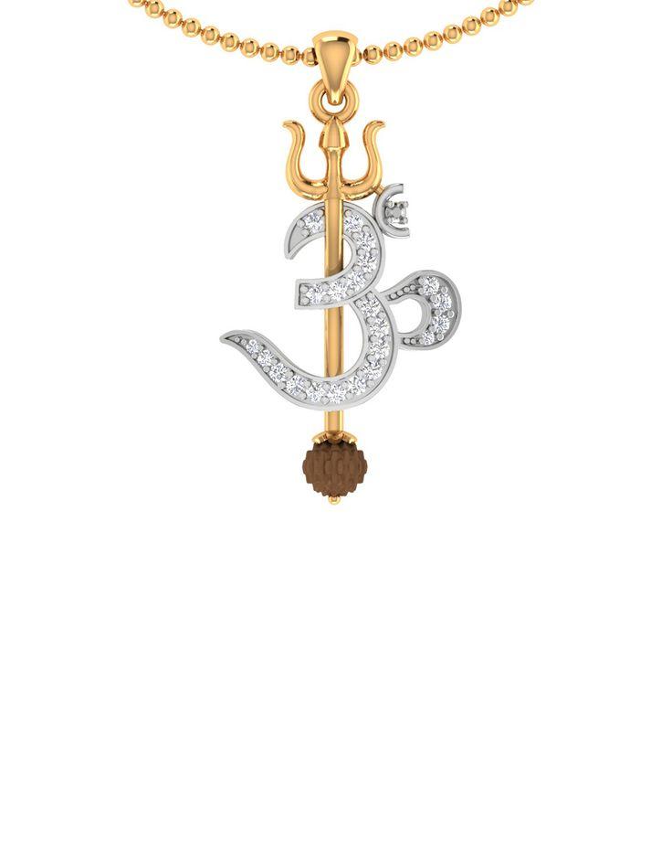 Trishul With OM Designer Rudraksha Studded Pendant With Chain For Men