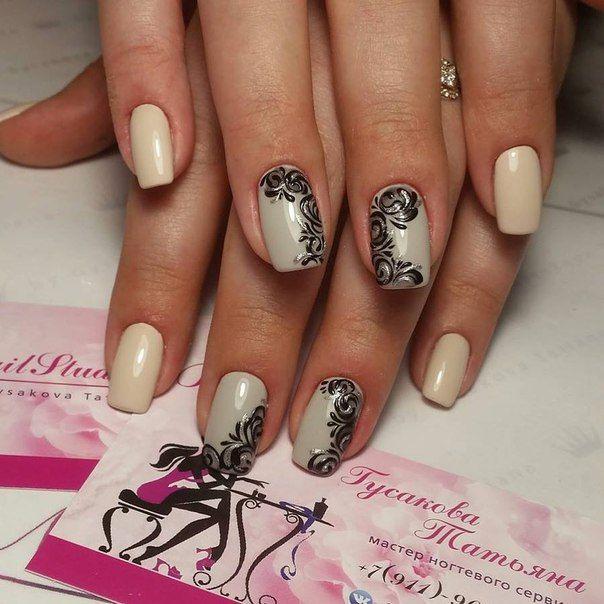 Beautiful nails 2016, Beautiful patterns on nails, Black pattern nails, Delicate nails, Evening dress nails, Evening nails, Exquisite nails, Fashion nails 2016