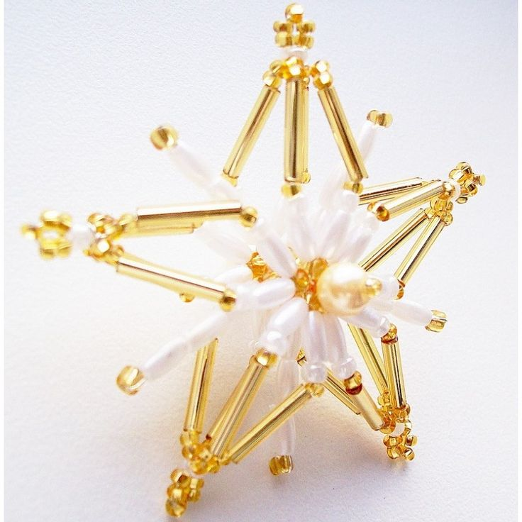 Zlato bílá 3D hvězda - malá