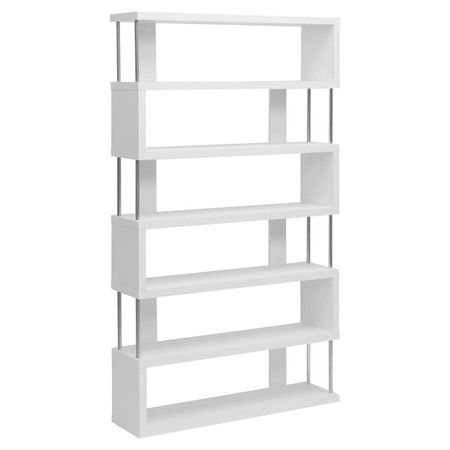 Display your favorite leather-bound novels or colorful art glass collection with this contemporary bookcase, showcasing a staggered design and crisp white fi...