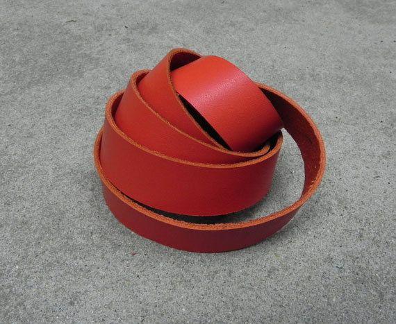 1 Yard 900X20mm  Scarlet Orange rot Rindsleder von all4handmade, $5.50