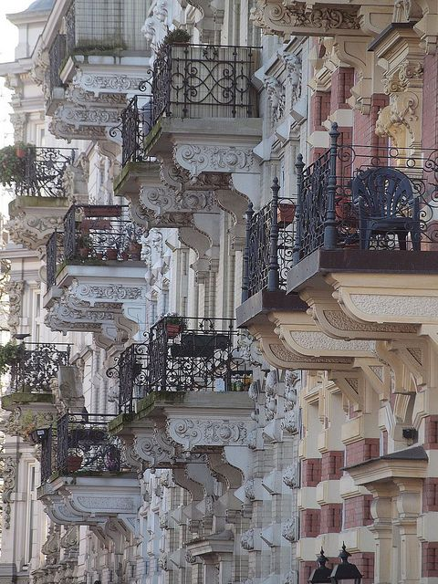 Wonderful elaborate balconies on splendid turn of the century (19th) balconies in Hamburg, Germany