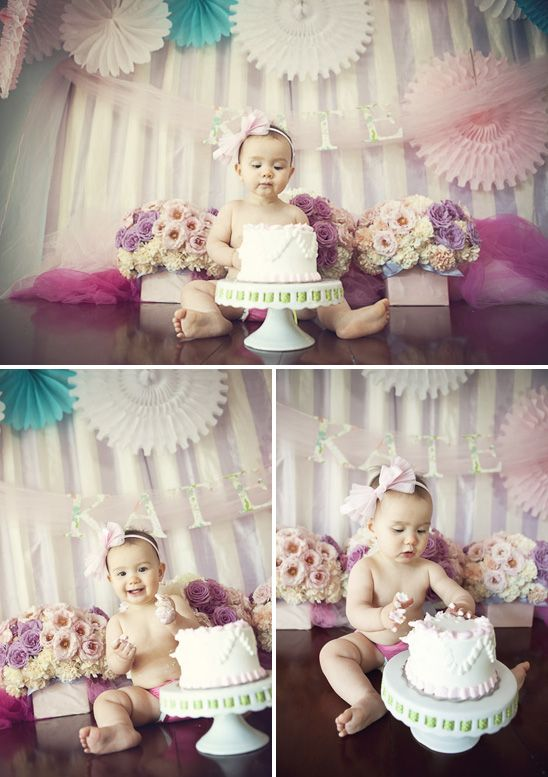 Sweet Shoppe Birthday Party featured at On To Baby. 1st Birthday smash cake session