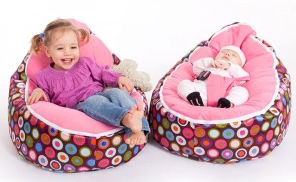 Baby Bean Bag Chair with 2 covers; 1 with harness for infant, other without for toddler.