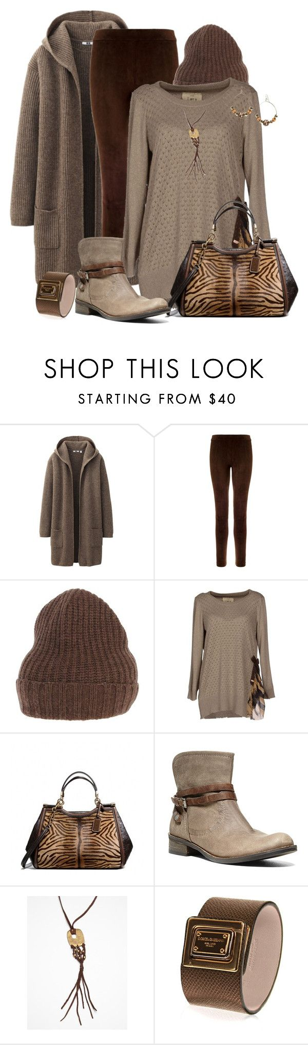 """""""Browns"""" by victoria1961notags ❤ liked on Polyvore featuring Uniqlo, L'Agence, VNECK, Aniye By, Coach, Steve Madden, Free People and Dolce&Gabbana"""