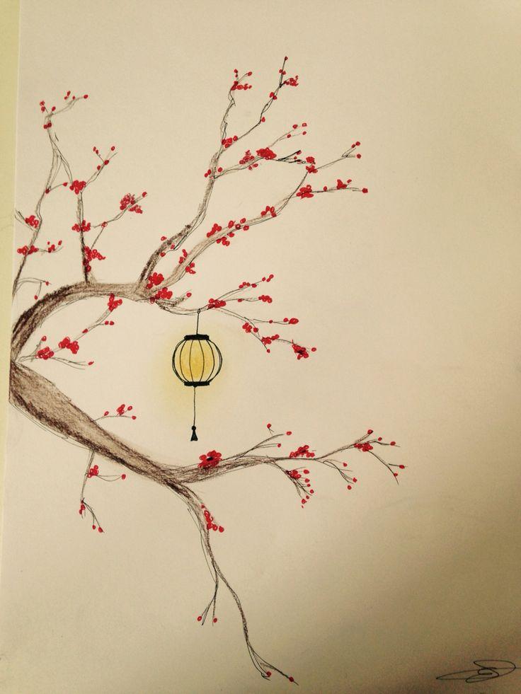 Japanese lantern drawing