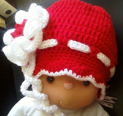 red hand made chrocheted hat for baby от BaByPrOdUcTsByGaLiNa