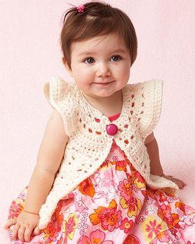 Giggles - Flutter Sleeve Vest - free crochet pattern.