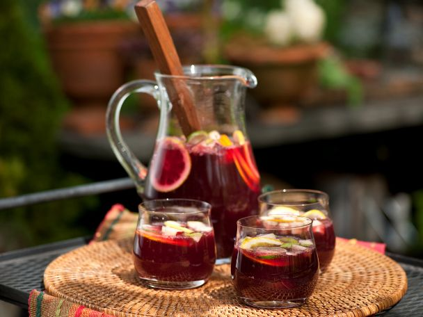 Traditional Sangria Recipe : Emeril Lagasse : Food Network - FoodNetwork.com - use honey instead of simple syrup, add juice from 1 lemon and 1 lime.