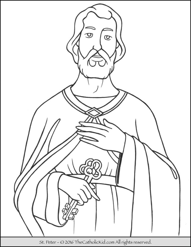 Catholic Coloring Pages For Kindergarten : Saint peter coloring page the catholic kid