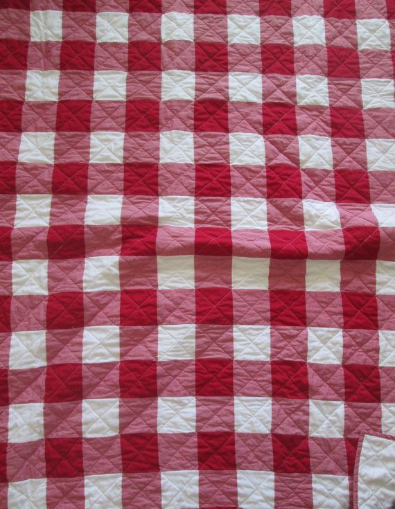 Items similar to MADE TO ORDER Red and Muslin Gingham King Sized Quilt on Etsy