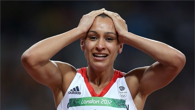 Jessica Ennis of Great Britain celebrates winning gold in the Women's Heptathlon on Day 8 of the London 2012 Olympic Games at Olympic Stadium