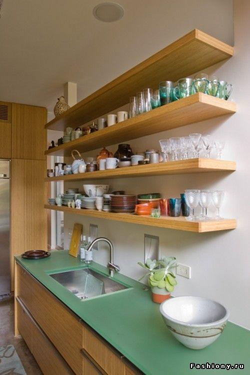 Кухня с открытыми полками - быть или не быть? / интерьер своими руками полки для кухни