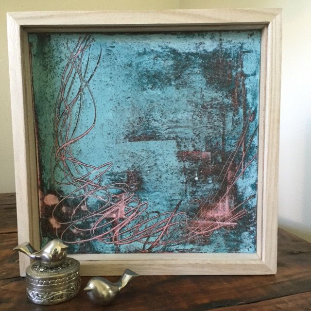 Cold encaustic wax layered art work in teal, pink and burnt umber by TheFlightyFlamingo on Etsy