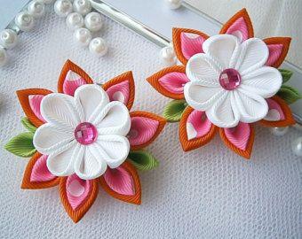 Handmade Kanzashi ladies girls hair clips от MARIASFLOWERPOWER