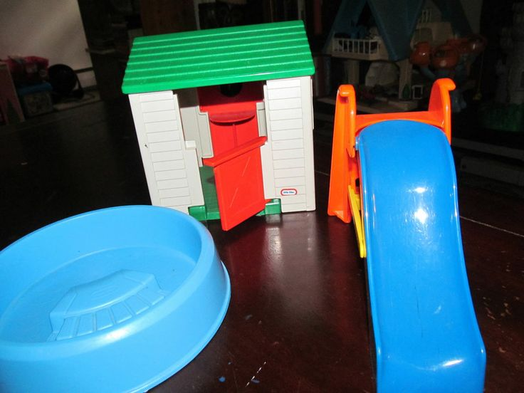 Vintage Little Tikes Dollhouse Pool Slide And Playhouse