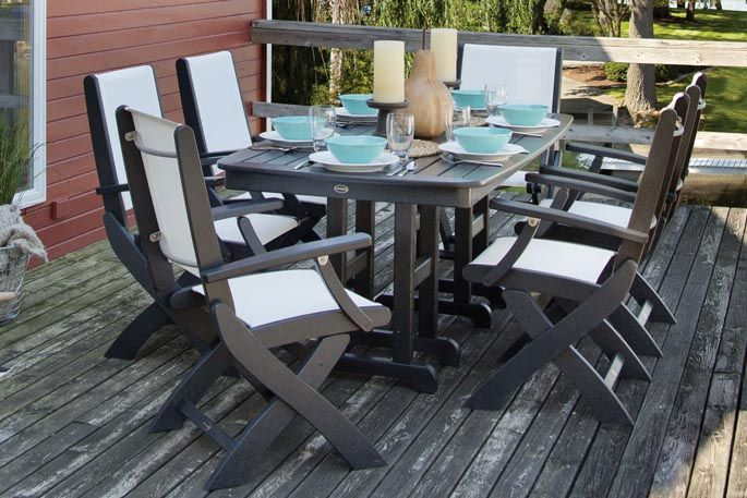 Recycled plastic outdoor dining set it durable & easy to clean