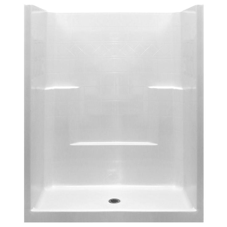 1piece low threshold shower stall in white with center drain