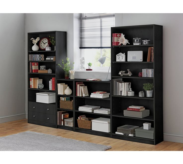 Buy HOME Maine 5 Shelf Tall Wide Extra Deep Bookcase - Black Ash at Argos.co.uk, visit Argos.co.uk to shop online for Bookcases and shelving units, Living room furniture, Home and garden