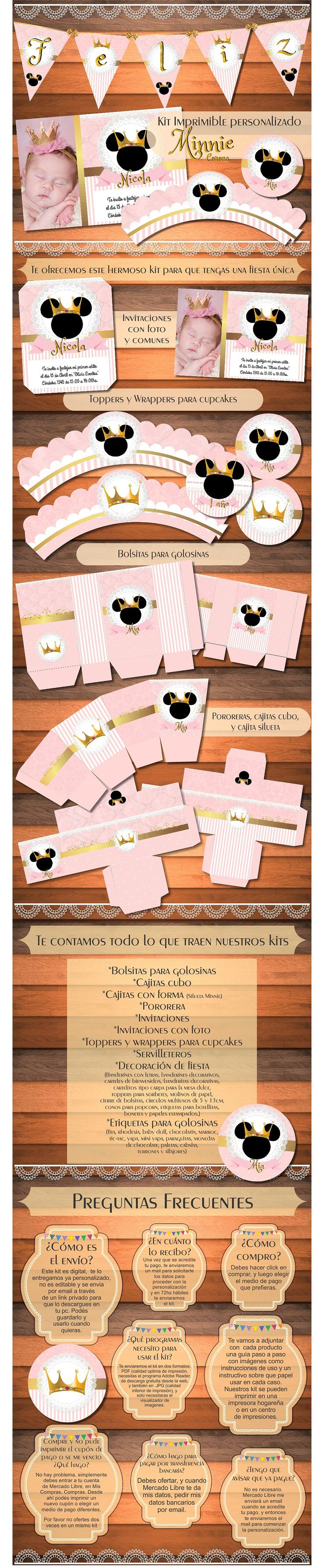 Kit Imprimible Minnie Princesa Corona Vintage Cumpleaños - $ 150,00