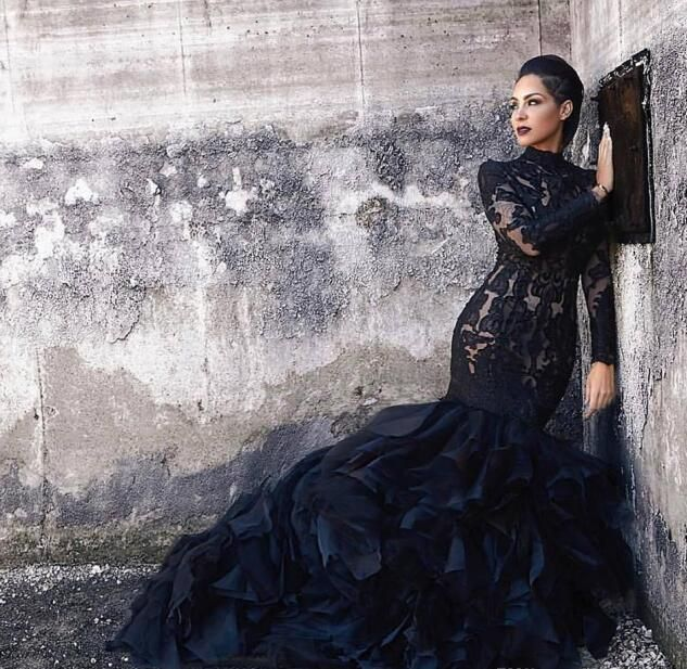 Black Mermaid Lace Wedding Dresses With Long Sleeves High Neck Ruffles Skirt Women Non White Brid Black Lace Wedding Dress White Bridal Gown Black Lace Wedding