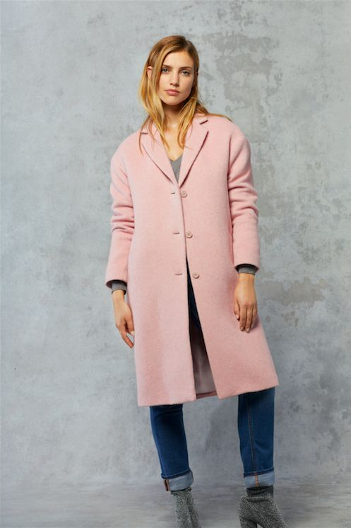 Who said pastels were for spring? Pair this candy floss wool overcoat by Filippa K with shades of grey for weekday style, and your favourite denim at the weekends.