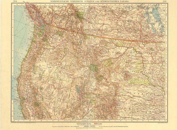 Best Vintage Maps Images On Pinterest Vintage Maps Antique - Western us and canada map