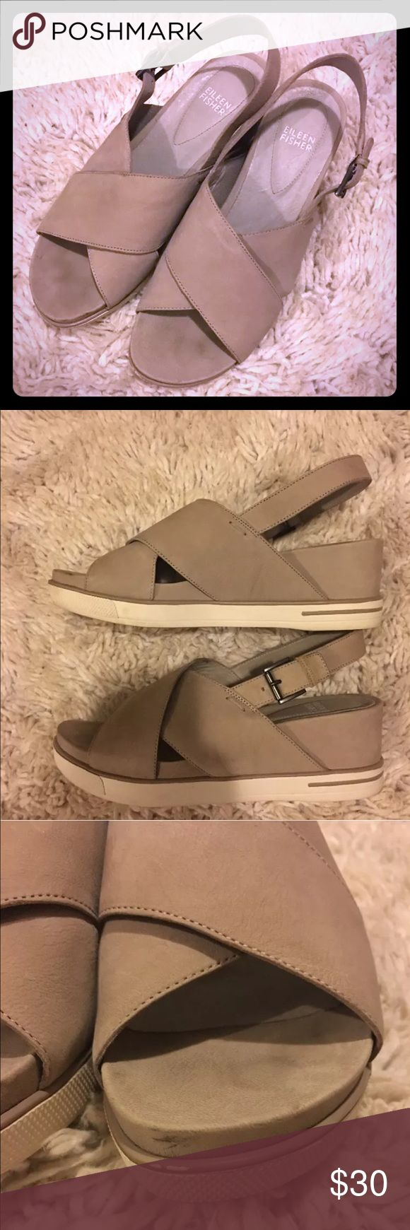 Eileen Fisher sandals Eileen Fisher cream Sandal size 8 flaw shown in 3rd pic other wise hardly worn Eileen Fisher Shoes Sandals