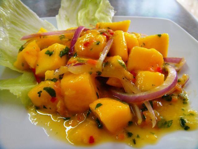 Ceviche de mango, entrada muy agradable y sencilla