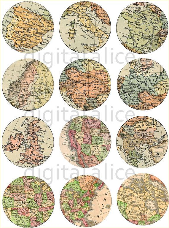 WORLD MAP Craft Circles Instant Download Digital by DigitalAlice