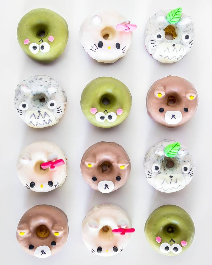 All sorts of character donuts. Hello Kitty, Totoro, Keropi, and the brown bear one.