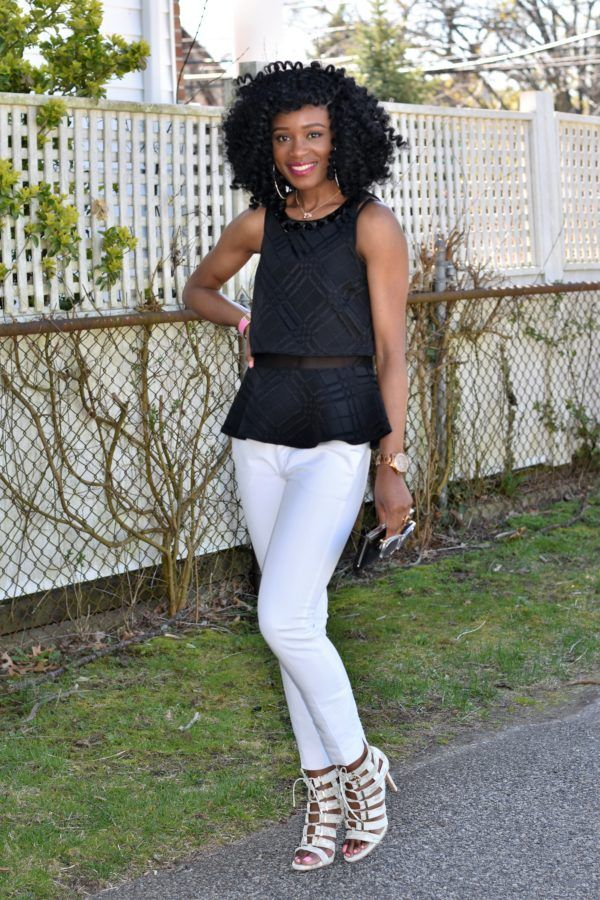 White trousers + black peplum top (7)
