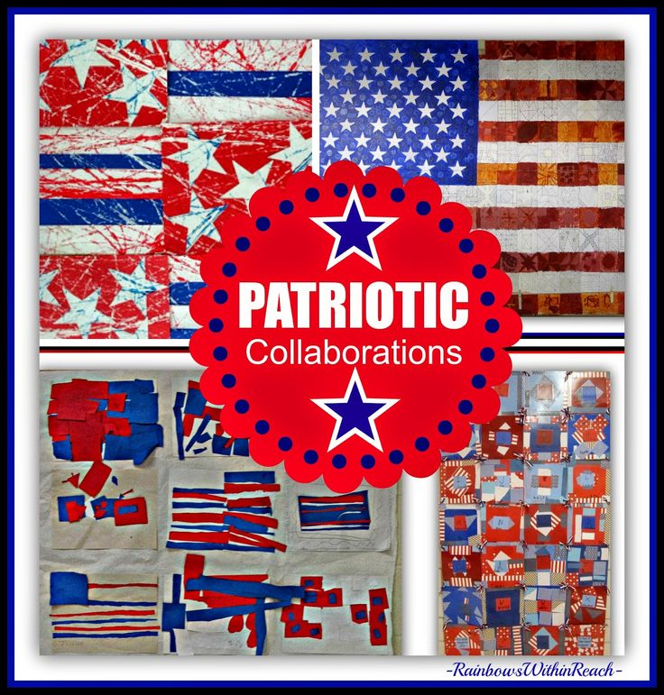 """Patriotic Children's Art Collaborations in Response to """"Red, White and Blue"""" by Debbie Clement"""