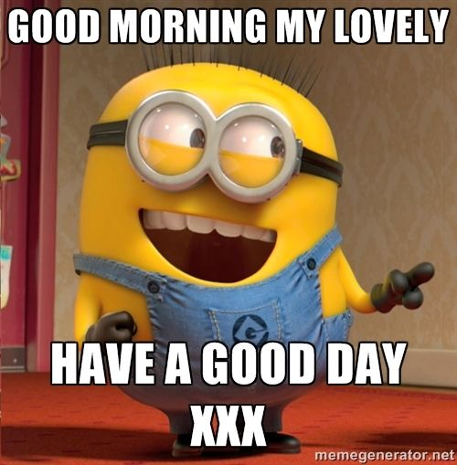 Minion, Good Morning My Lovely XXX 。◕‿◕。 See my Despicable Me  Minions pins https://www.pinterest.com/search/my_pins/?q=minions