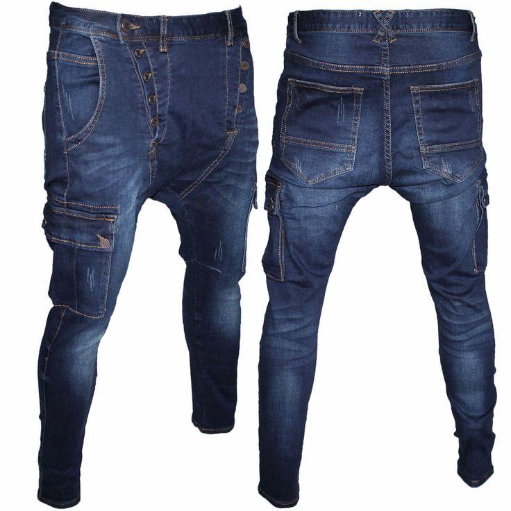 Pantaloni Jeans Uomo Forgiato Denim Style Harem Cargo Bellois Fashion
