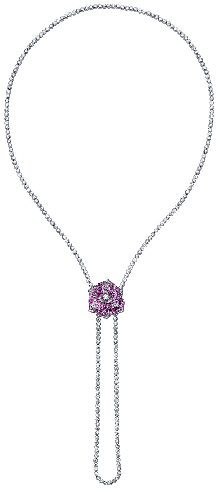 Piaget Rose Necklace In White Gold Pink Sapphires And