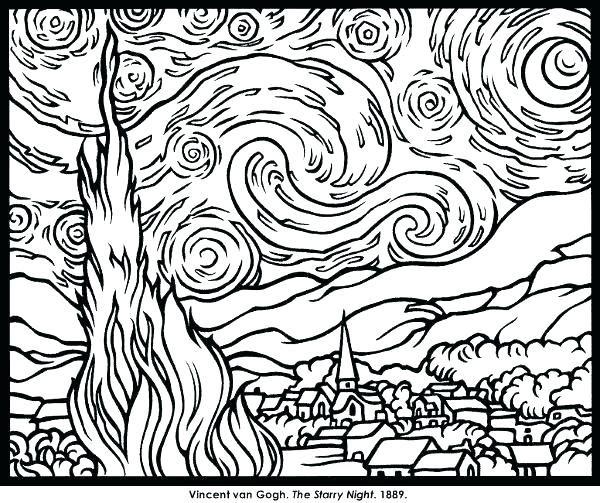 Famous Artwork Coloring Pages Famous Paintings Coloring Pages Famous Paintings Coloring Pages Printable Fa Starry Night Van Gogh Van Gogh Coloring Van Gogh Art