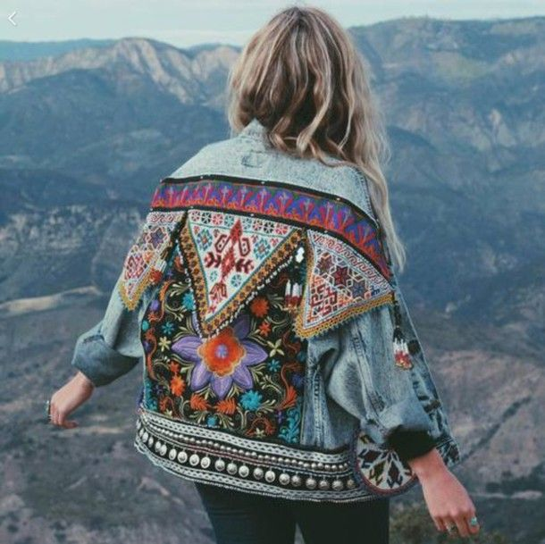 Jacket: red colorfull blue purple denim multicolor embroidered embroidered coat denim indie boho