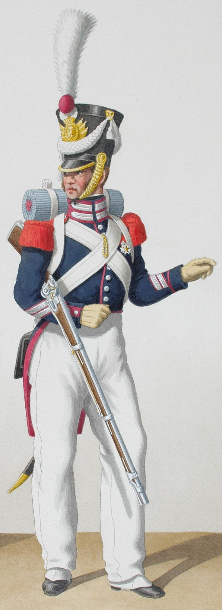 1830. Garde Royale. Sous-Officier Sédentaires. Capitaine, Sergent.