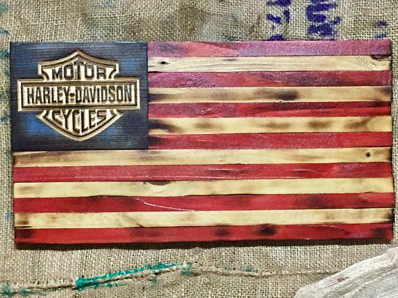 Rustic Full Color Harley Davidson Flag Distressed Wood Flag
