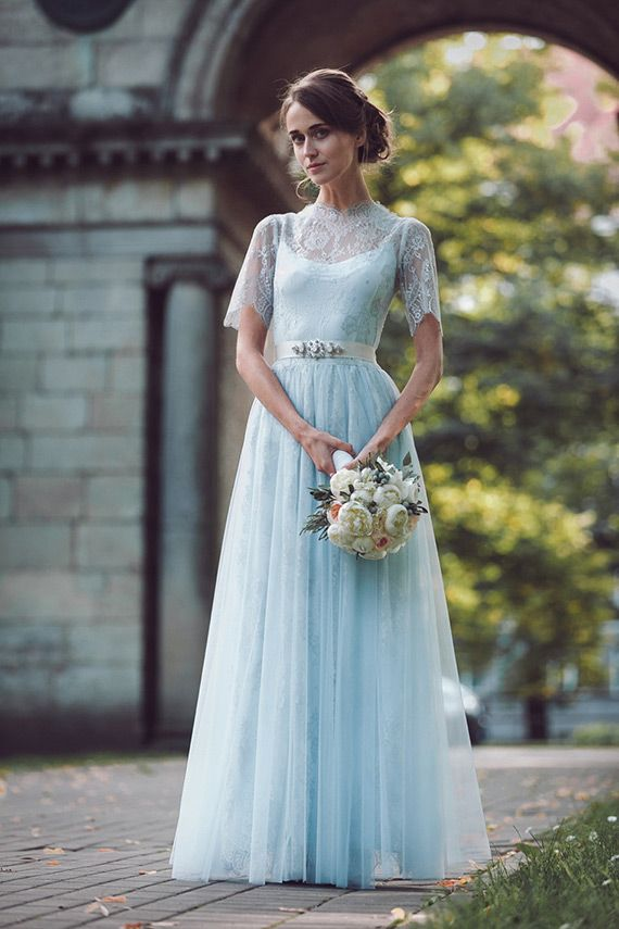 Pale Blue Wedding Dresses by Katya Katya Shehurina | see more beautiful blue wedding dress on www.onefabday.com