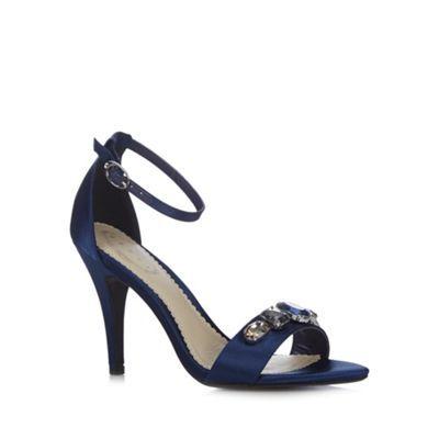 Debut Navy satin jewel high sandals- at Debenhams.com