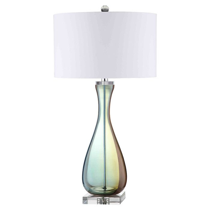 Glass table lamp with a subtle blue green finish product table lampconstruction material glass and fabriccolor blue green and whitefeatures