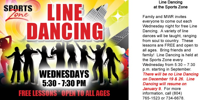 Free line dancing lessons every Wednesday!