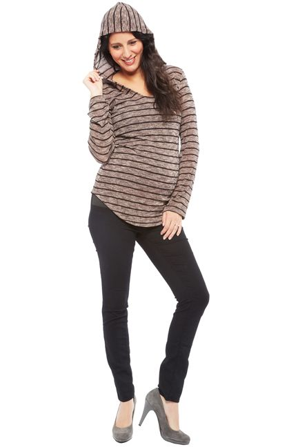 Nom Aria Striped Knit Maternity Hoodie | Maternity Clothes  www.duematernity.com