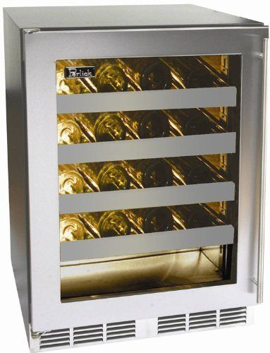 "Perlick Stainless Steel Built In Wine Cooler HH24WS3R by Perlick. $2299.00. Four Wine Shelves. Stainless Steel Interior. 20-Bottle Capacity. ADA Compliant. 18"" Depth for Design Flexibility. Perlick Stainless Steel Built In Wine Cooler HH24WS3R. 32 height with leveling legs. Designed for maximum capacity while adhering to strict 34-inch counterheight ADA-compliant requirements. 18 depth for design flexibility. Zero-clearance hinging allows for abutment with surroundi..."