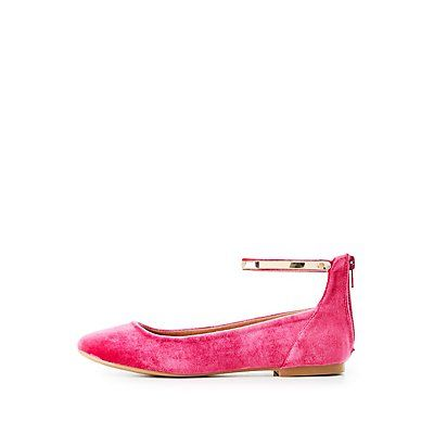 Velvet Gold Trim Ankle Strap Flats | Ankle strap flats