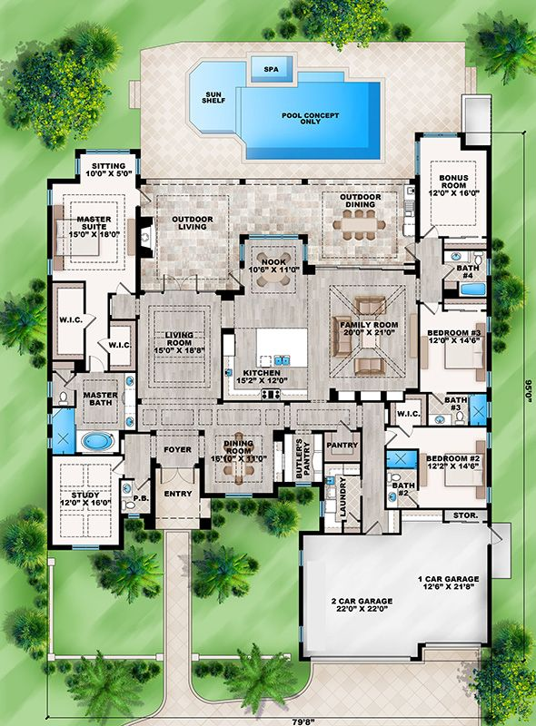 House Plan 207 00019 Coastal Plan 4 162 Square Feet 4 Bedrooms 4 5 Bathrooms Florida House Plans Floor Plans Mediterranean House Plan
